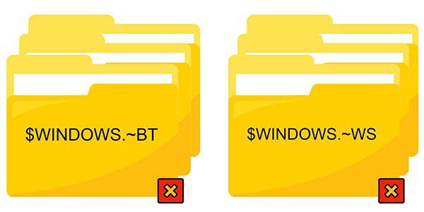 $WINDOWS.~BT and  $WINDOWS.~WS folders